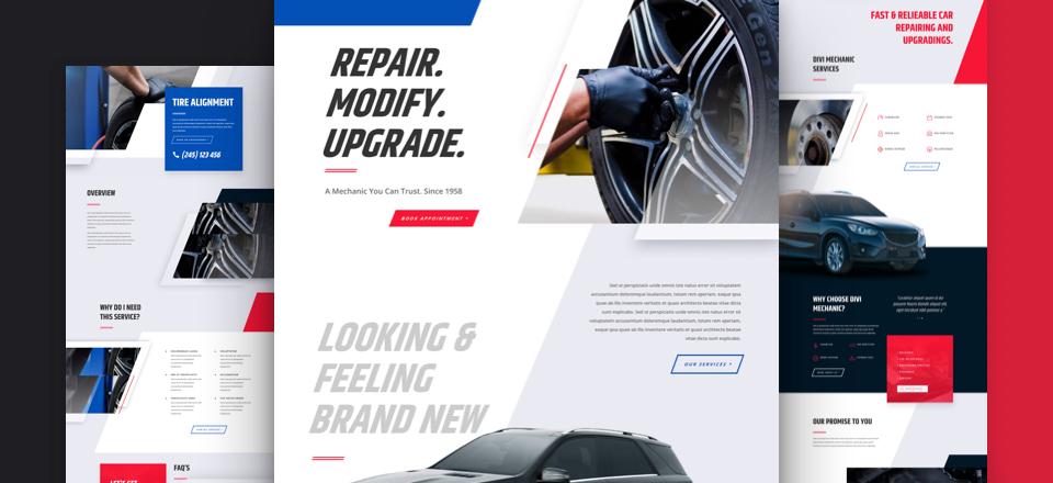 Mechanic web site design and layout